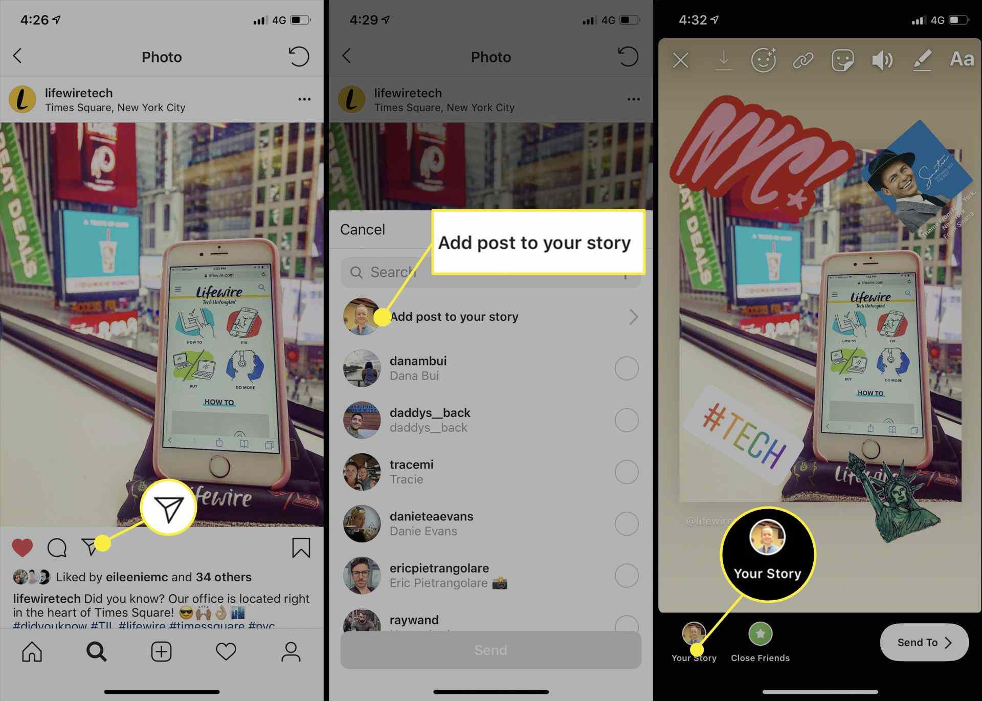 مشاركة منشور Instagram على قصة Instagram في تطبيق iPhone.