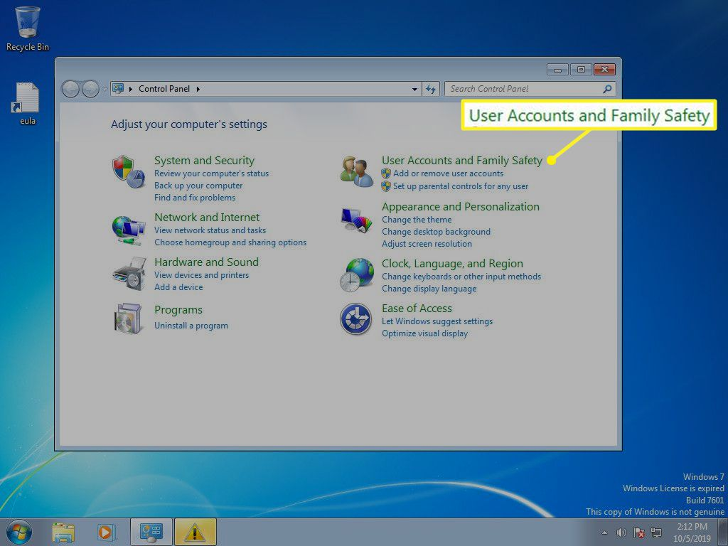 Windows 7 Control Panel with User Accounts and Family Safety selected