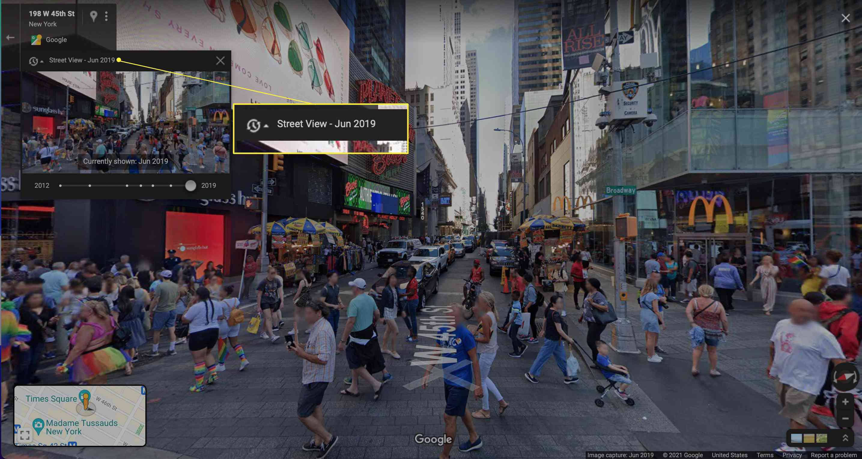 Google Maps Street View New York scene with clock highlighted