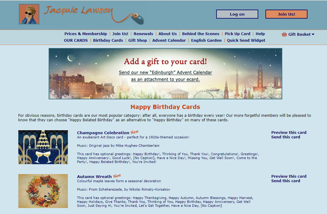 Jacquie Lawson Birthday E Cards Screenshot