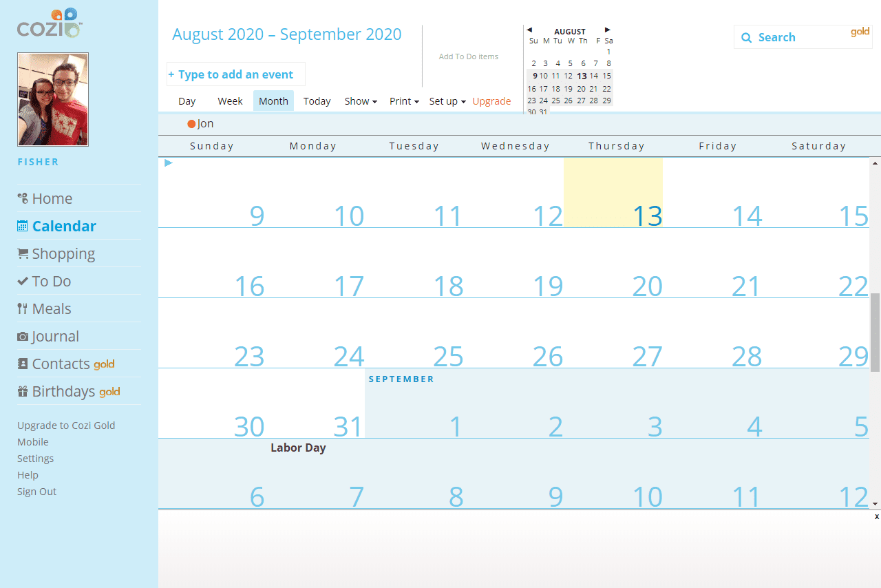 Cozi calendar in month view