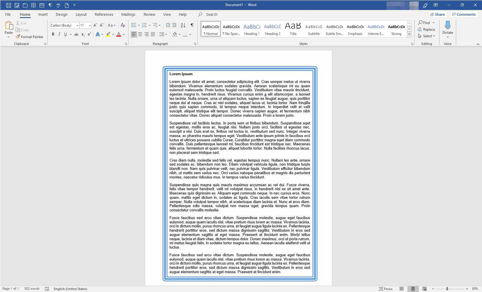 Microsoft Word with text and border applied to one page