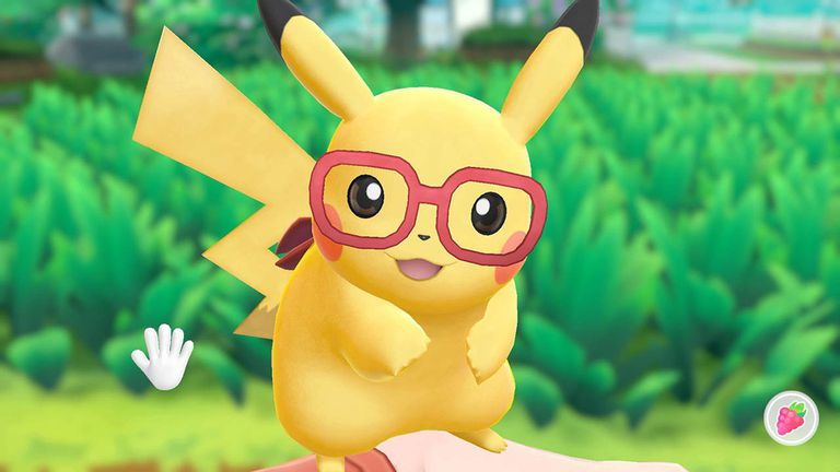 Pikachu in the Pokemon Let's Go video game on the Nintendo Switch