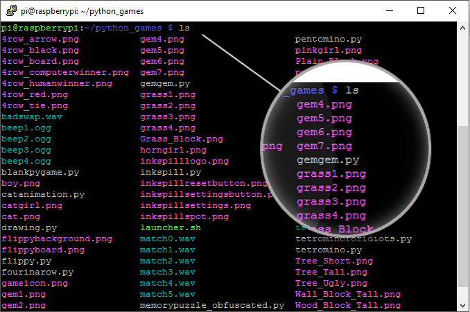 ls command in the terminal