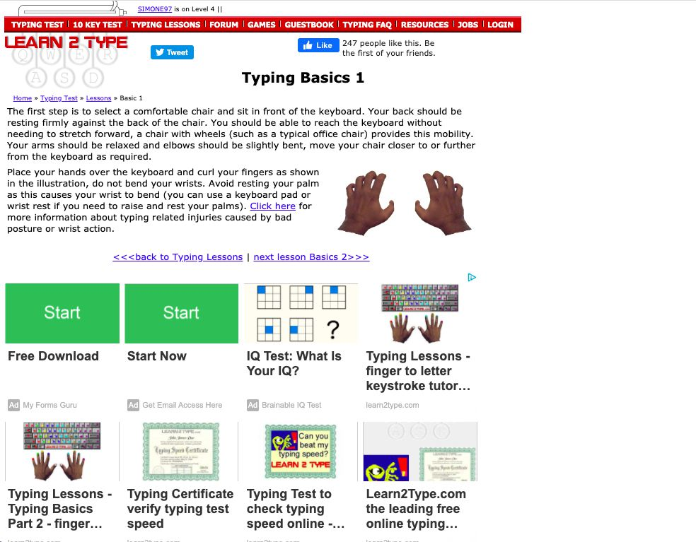 Learn 2 Type Typing Basics 1 Lesson instructions