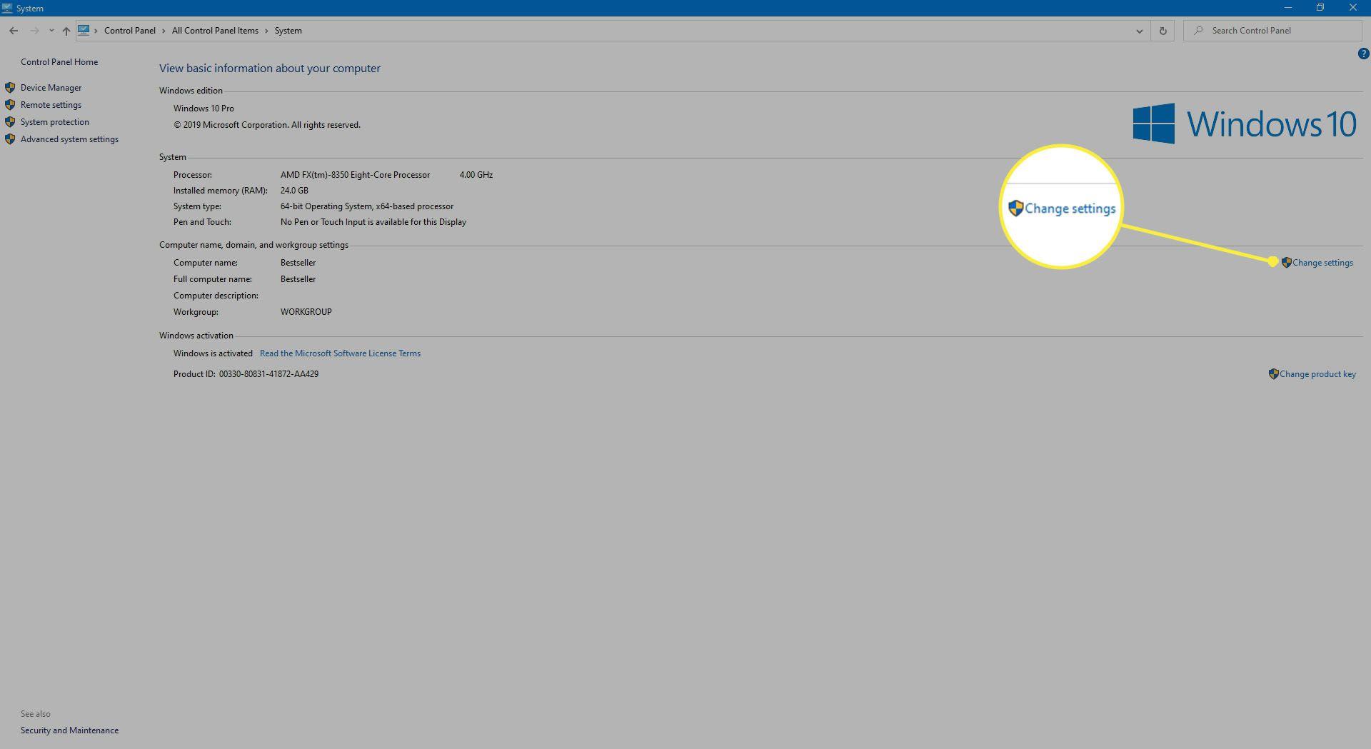 Selecting Change Settings in Windows 10.