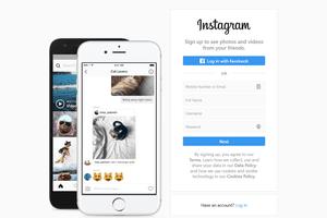 The Instagram login page on a desktop web browser
