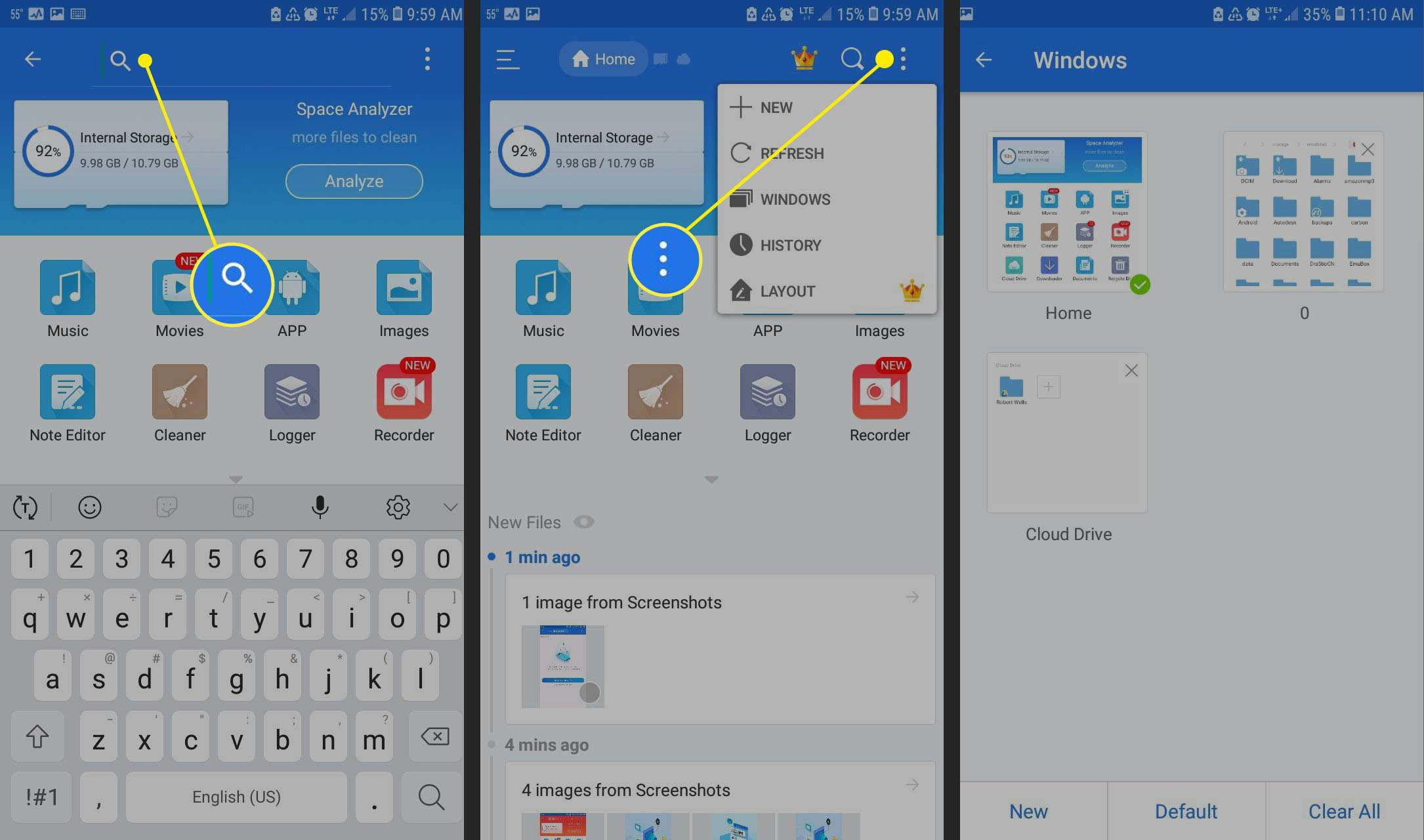 Search for file with ES File Explorer for Android