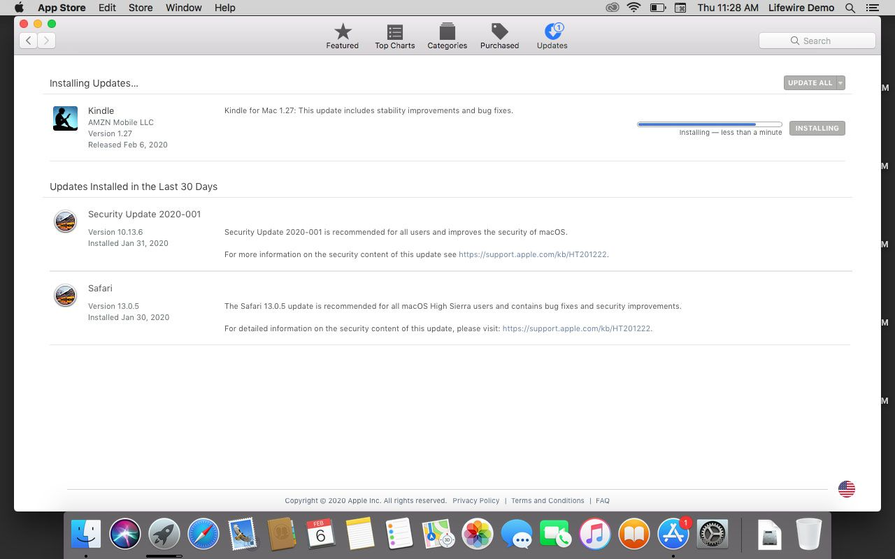 Update is installing in the App Store.