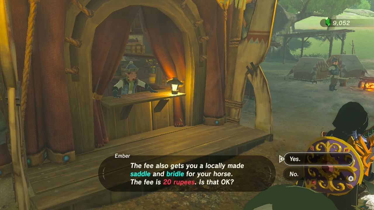 Paying 20 rupees to register horse in Zelda: Breath of the Wild.