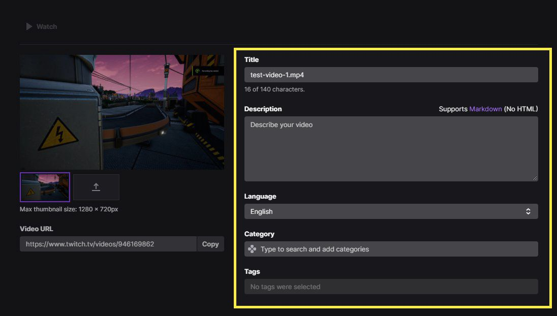Twitch video upload details page with Title, description, language, category, and tag highlighted
