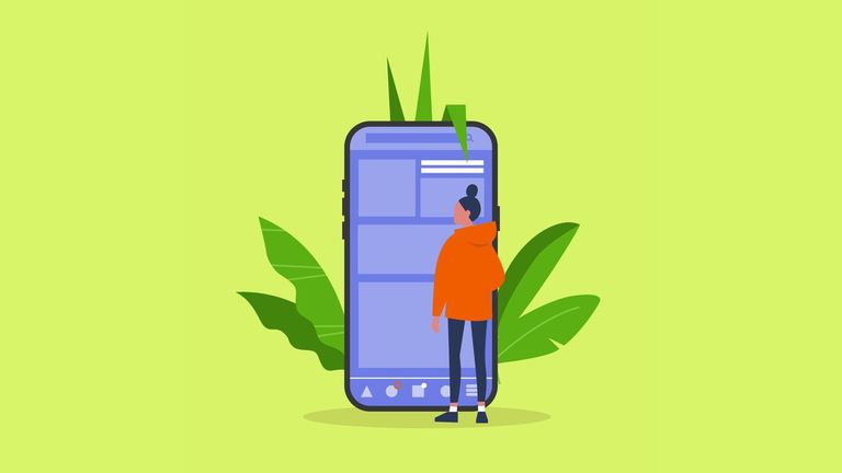 An image graphic of a woman looking at a smartphone.