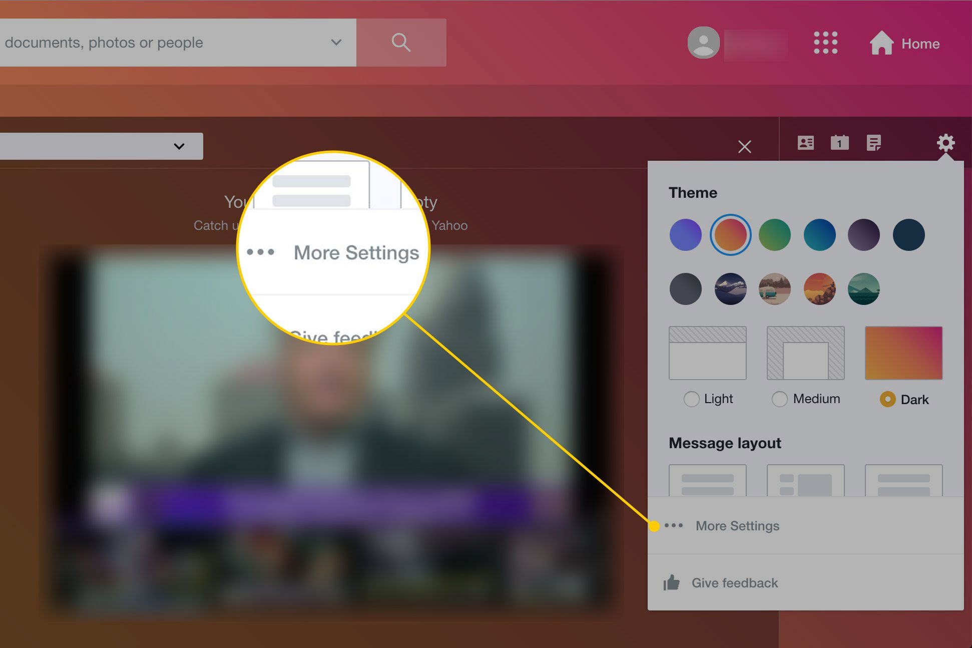 Yahoo Mail Inbox with the More Settings icon highlighted