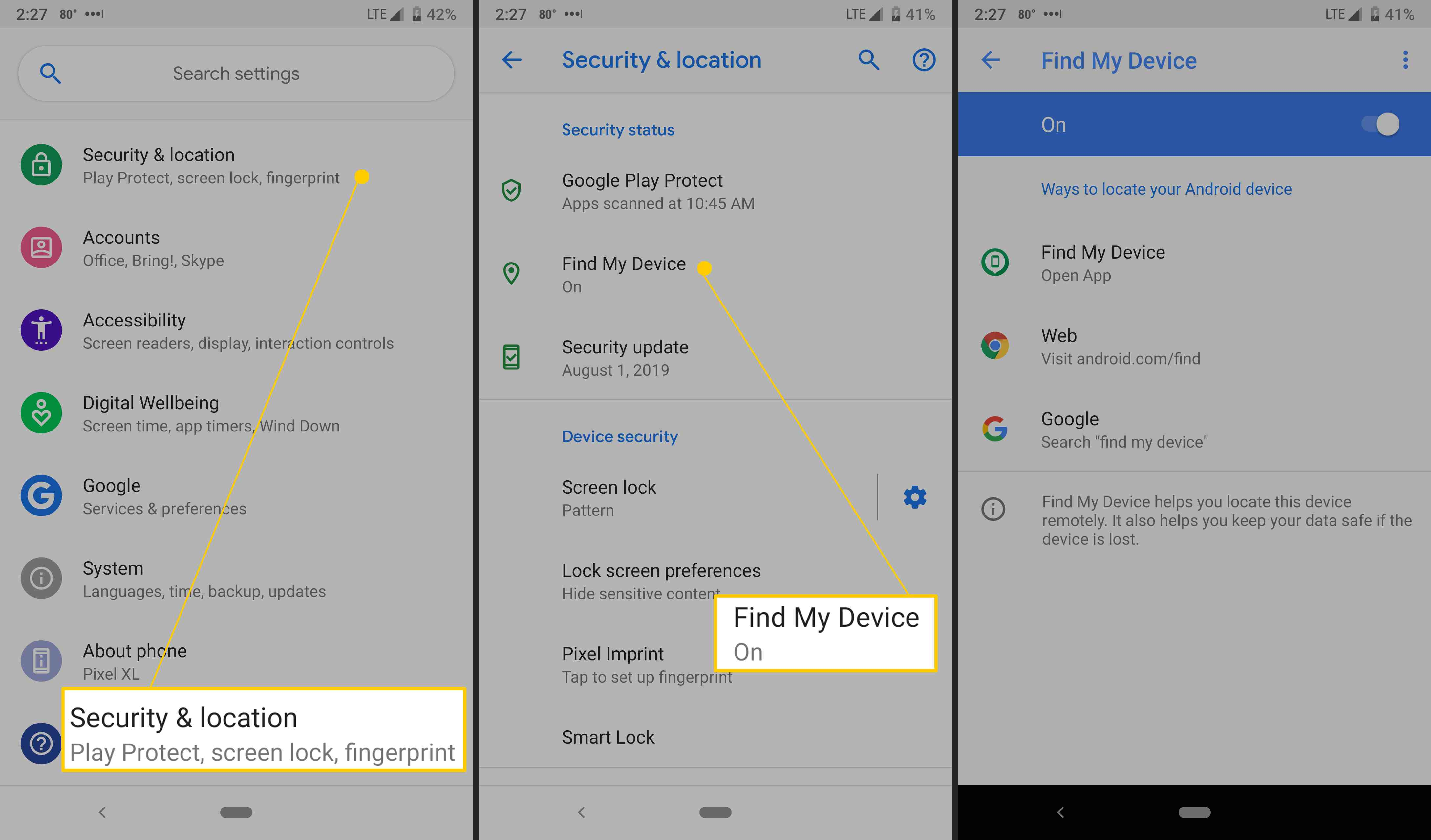 Android's Google Find My Device settings.