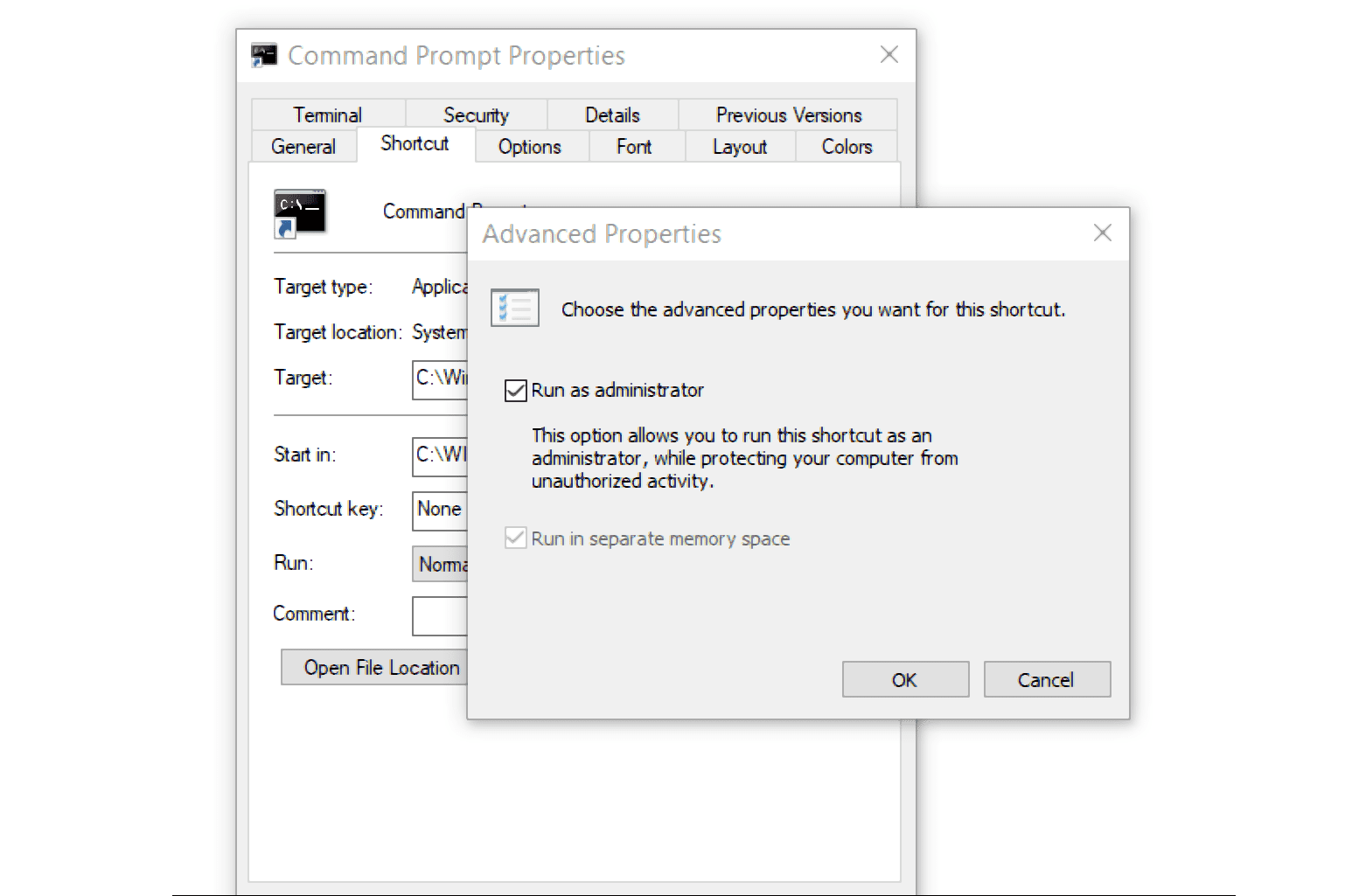 Command Prompt run as administrator option