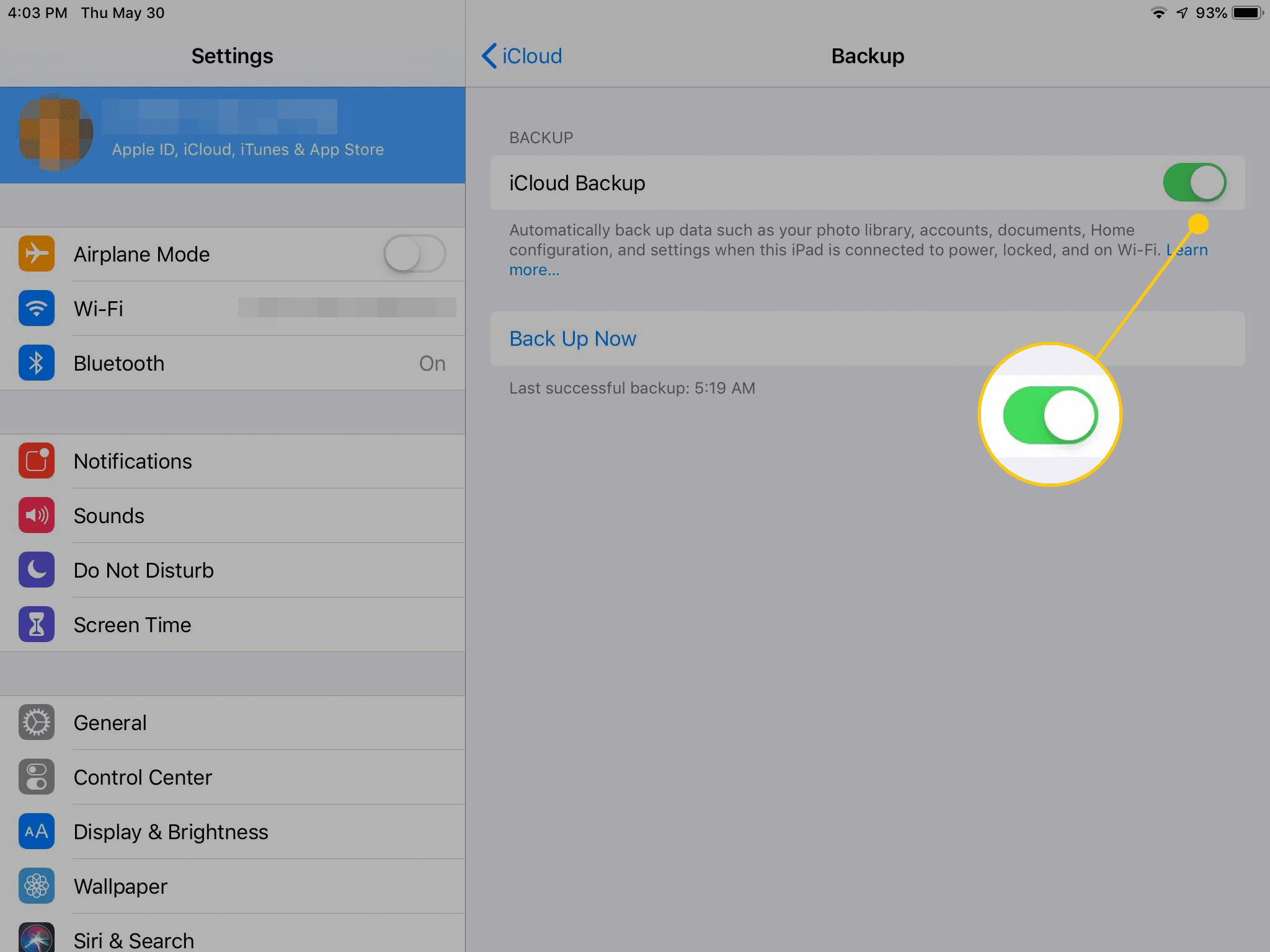iCloud Backup toggle in iOS settings on iPad
