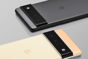 Google Pixel 6 in gray and yellow/beige