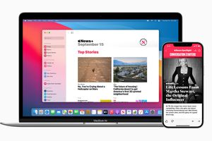 Apple News+ on MacBook Air and iPhone