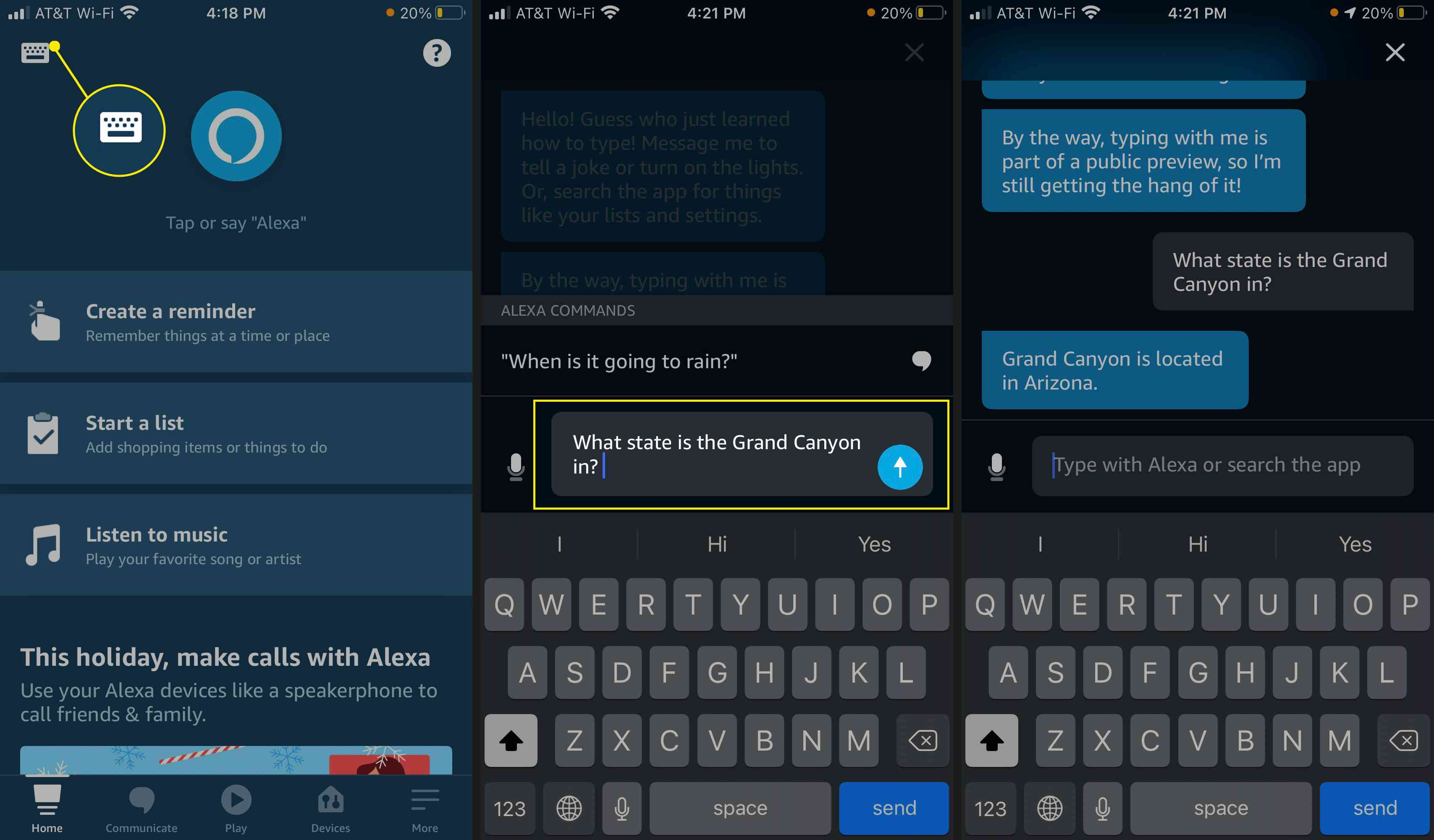 Type a query, tap Send, and Alexa will respond via text.