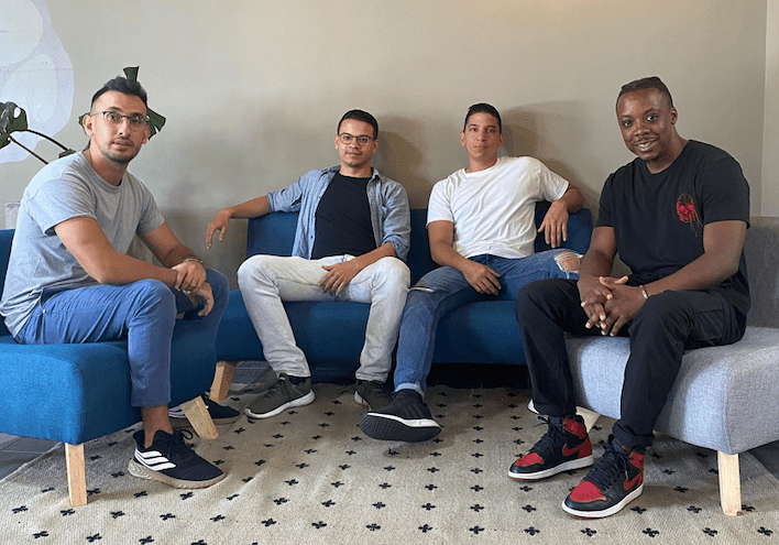 Josh Dzime-Assison with the other co-founders of Vendoo.