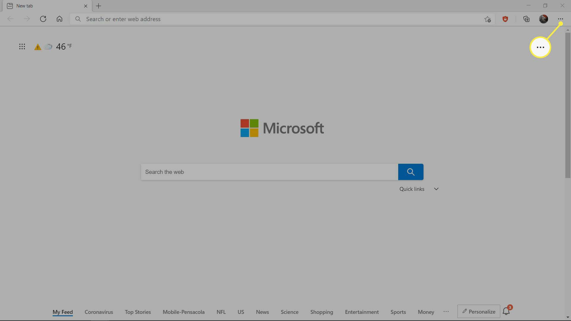 The main menu button highlighted in MS Edge.