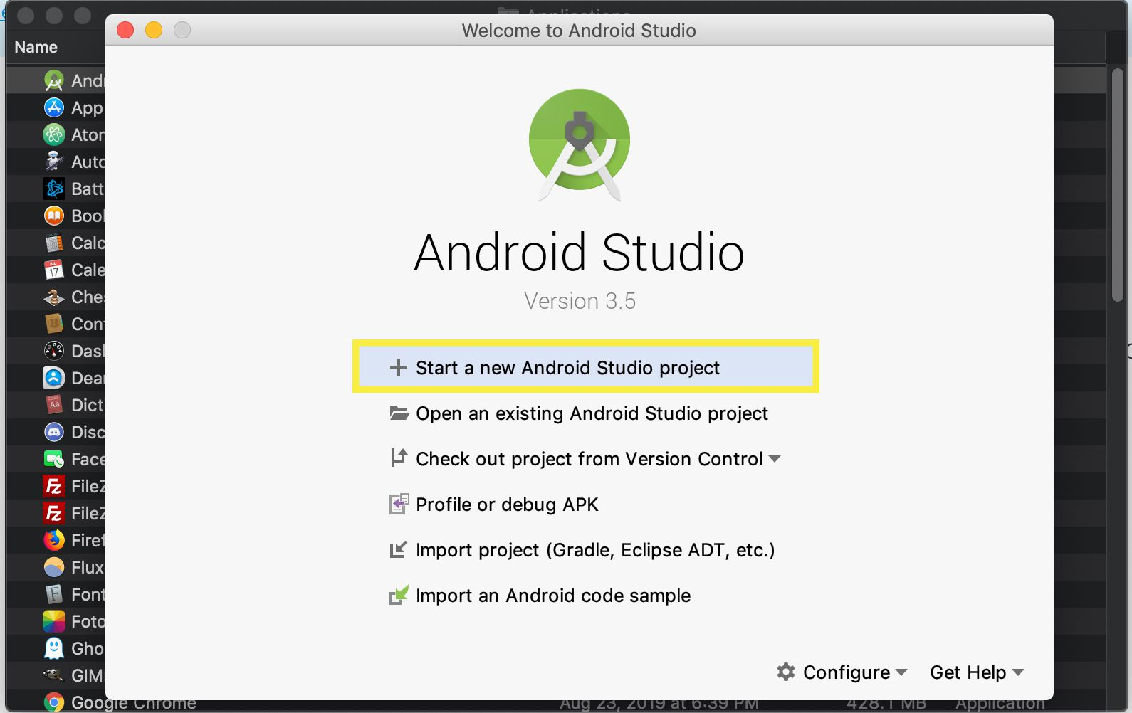 Android studio start new project