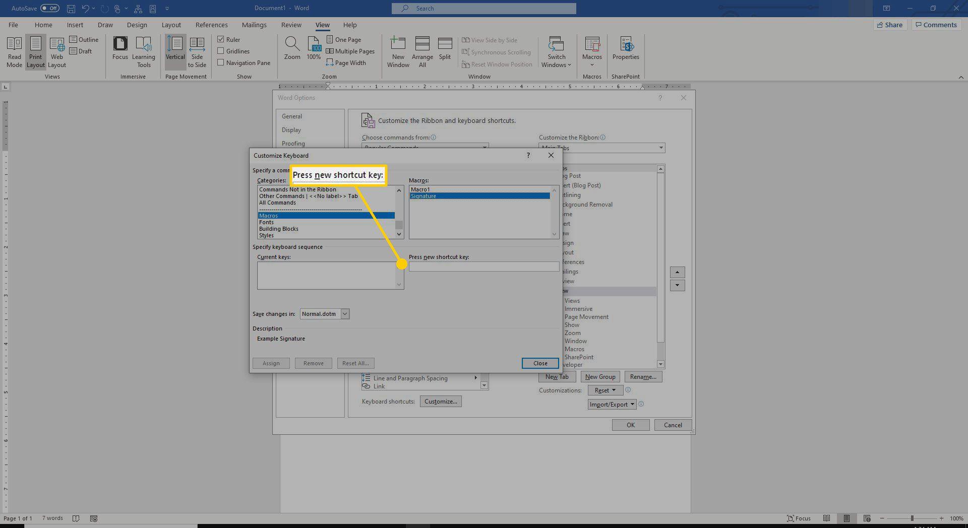 Press new shortcut key menu in Word