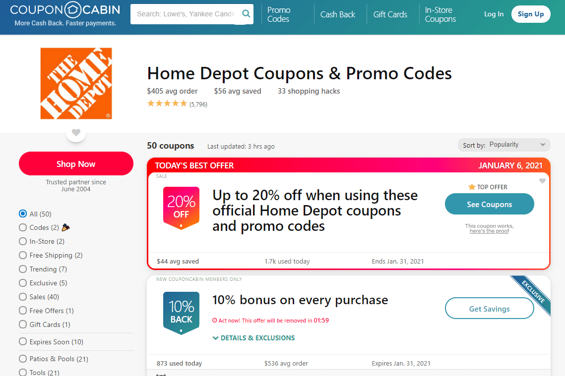 Screenshot of CouponCabin promo codes for Home Depot