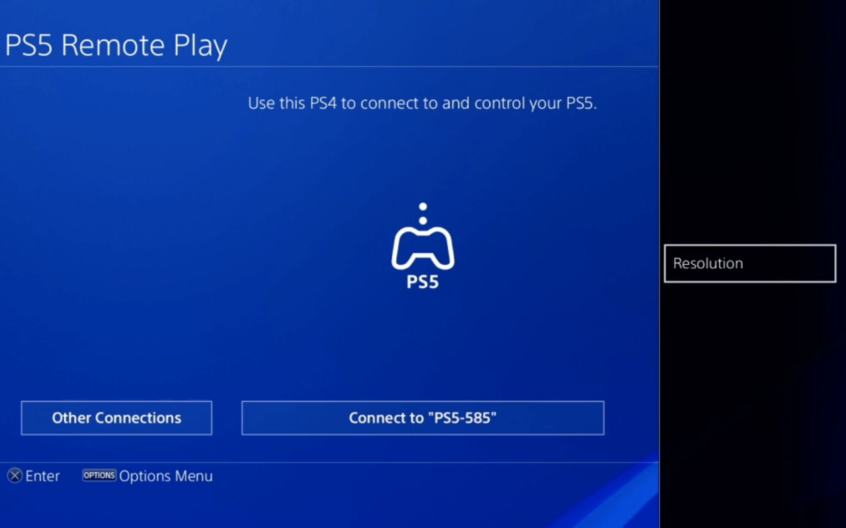 The Resolution option in PS5 Remote Play