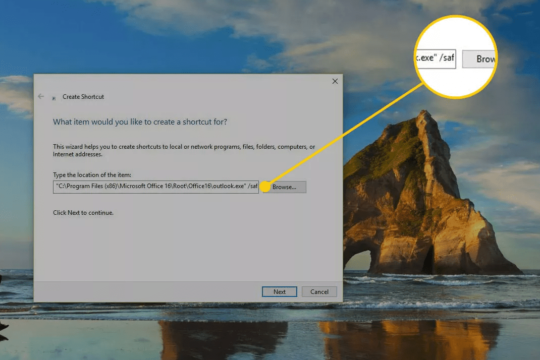 Screenshot of the safe suffix at the end of an outlook shortcut in Windows 10