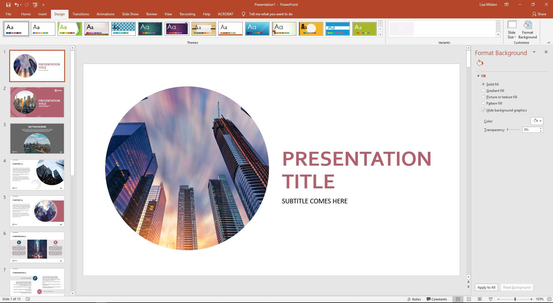 PowerPoint displaying the hidden background options.