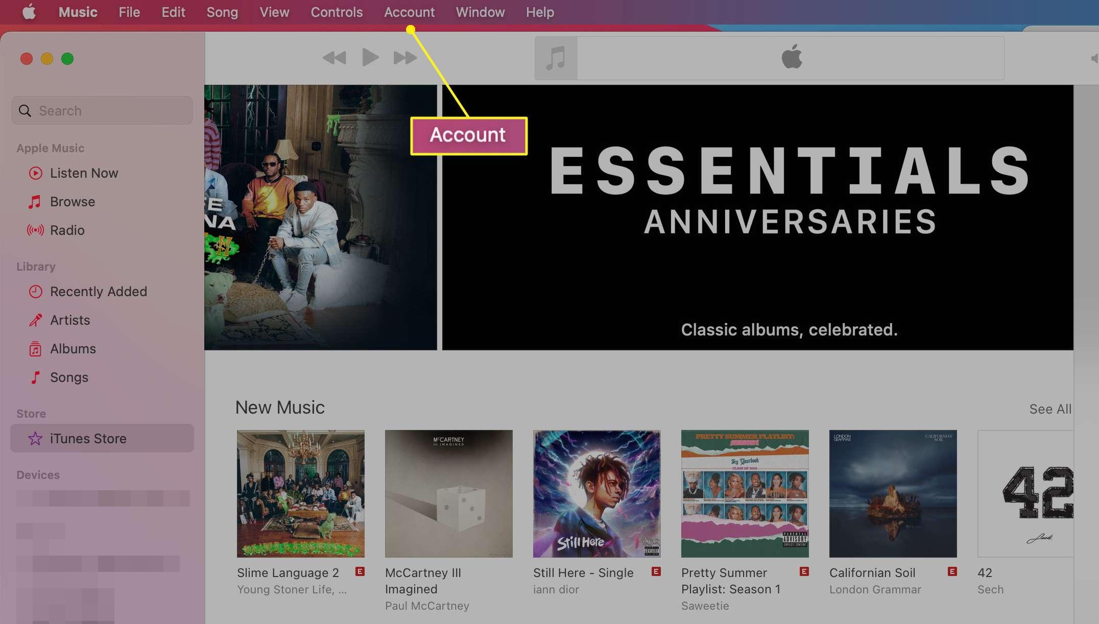 Big Sur Music App showing Account in the menu bar