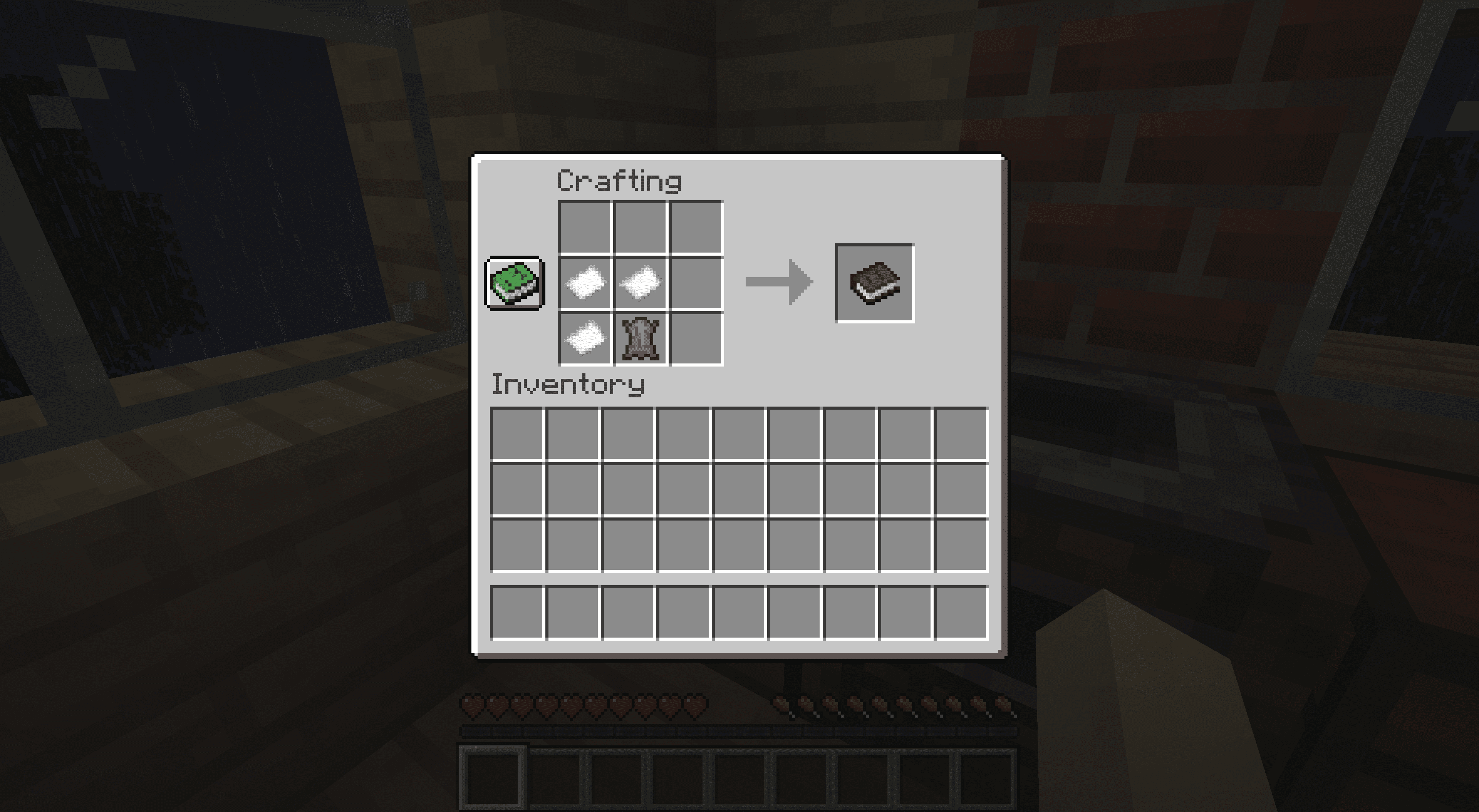 The recipe for crafting a book in Minecraft.