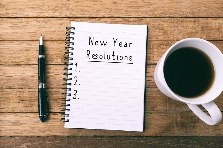 New Year Resolutions on Note Pad