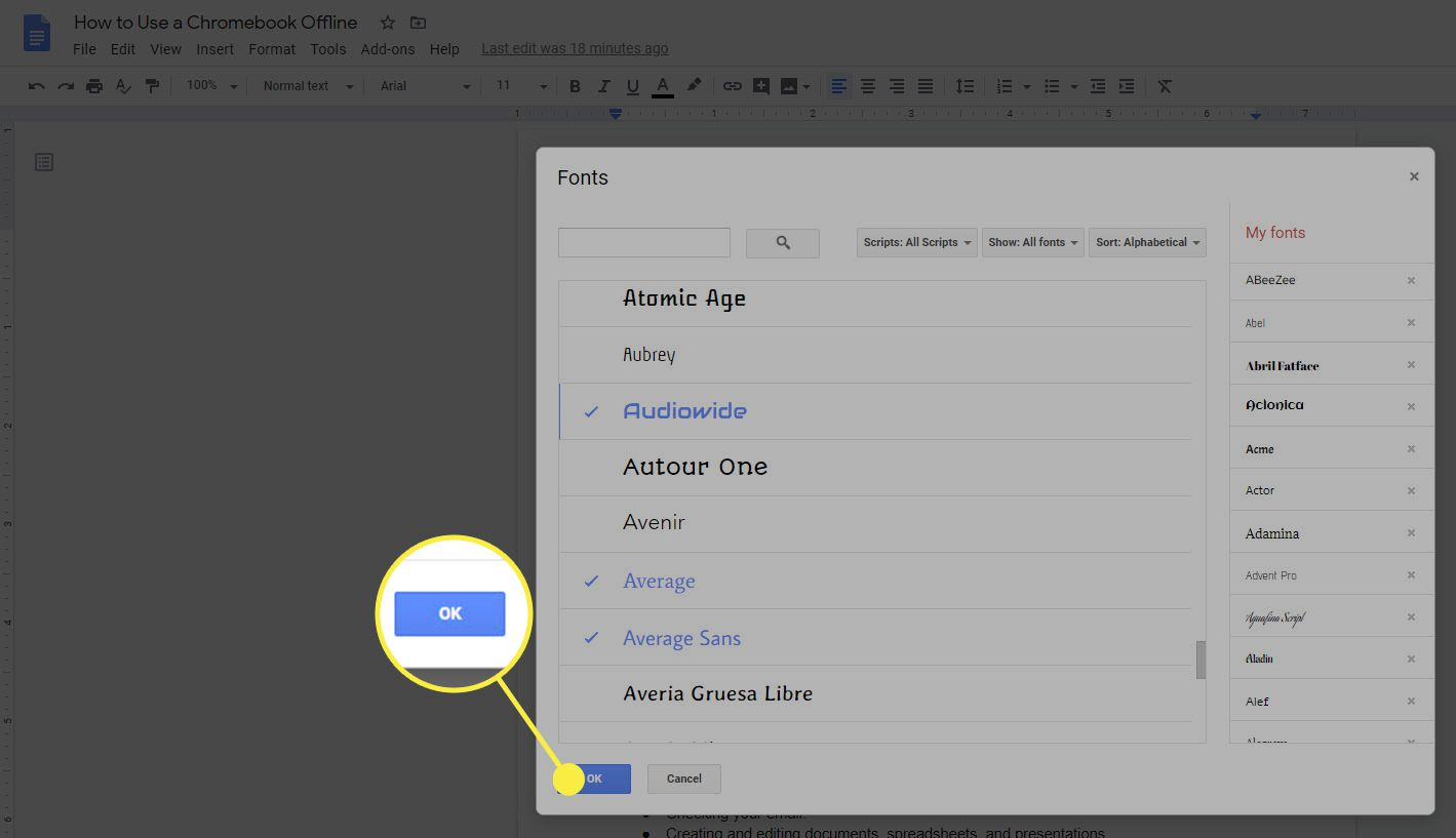 Click OK in Google Docs font picker to accept the additions and close it.
