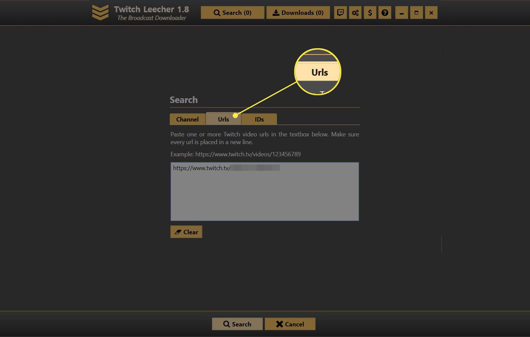 The URLs tab in Twitch Leecher