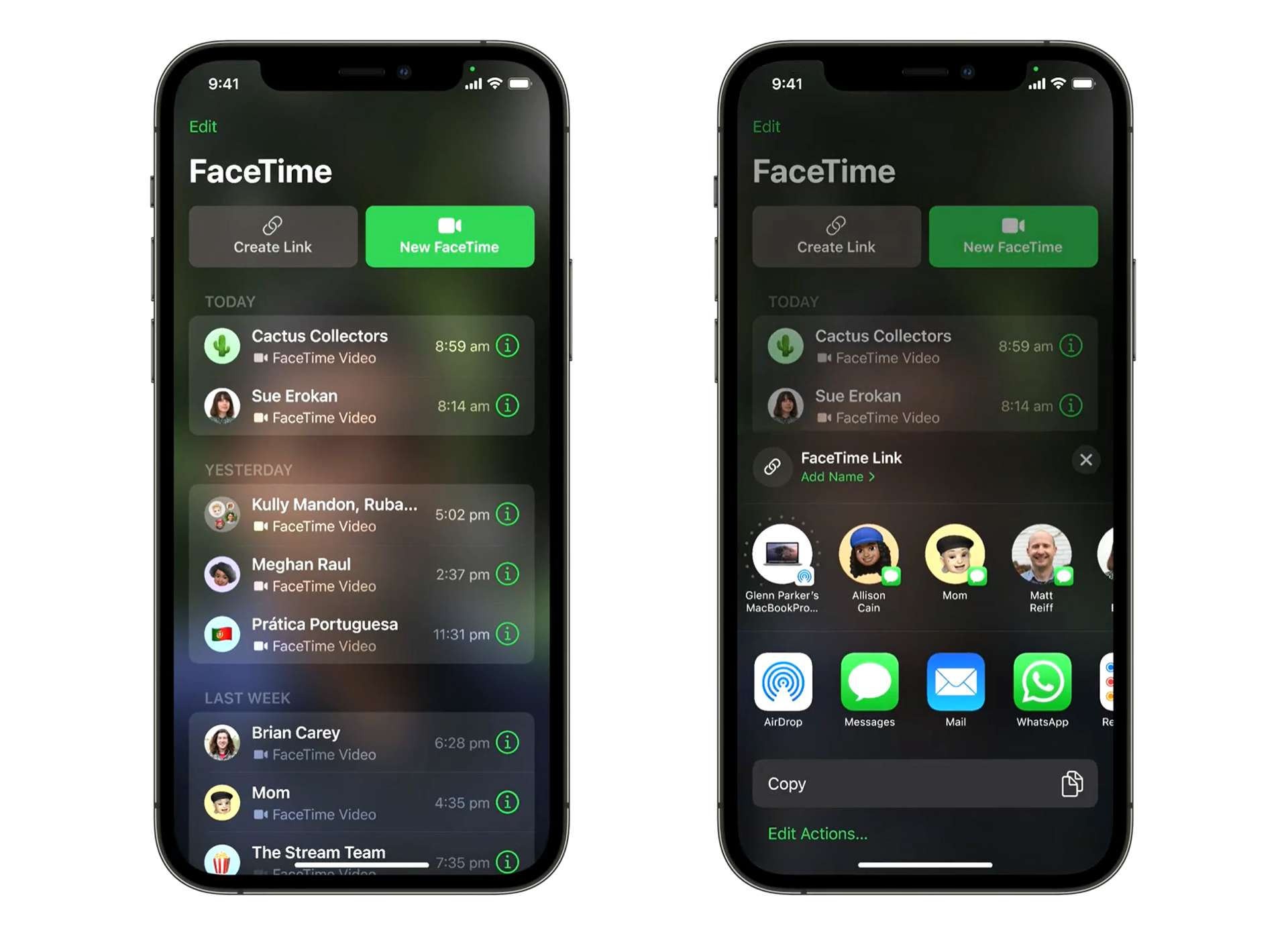 Preview images of the upcoming new FaceTime app from Apple.