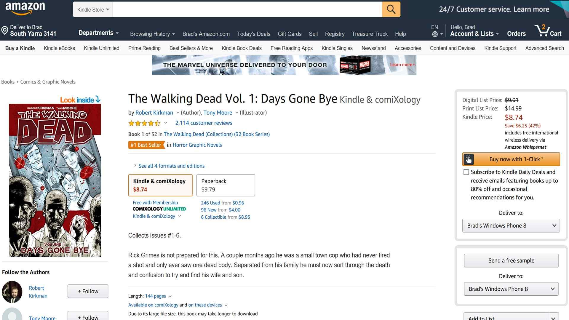 Walking Dead digital comic book on Amazon.