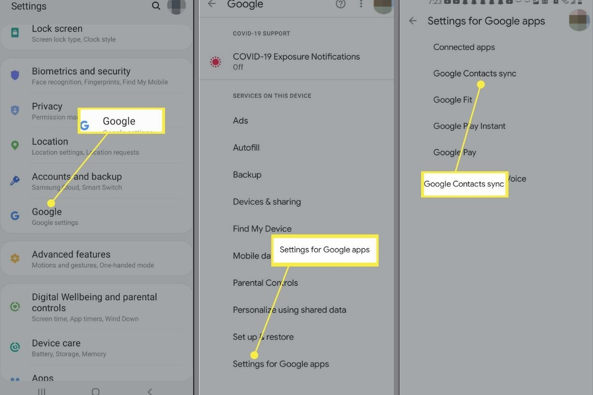 Google, Settings for Google apps, and Google Contacts sync in the Android settings app