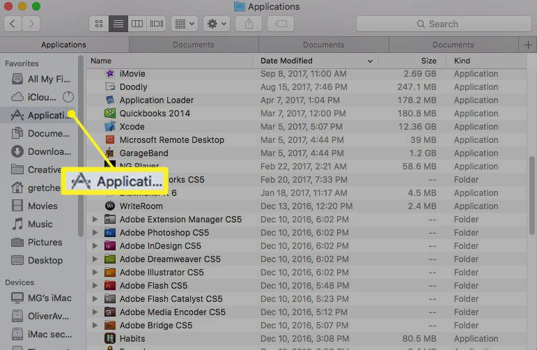 Mac Finder window with Applications selected