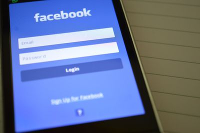 The Facebook login page on a smartphone.
