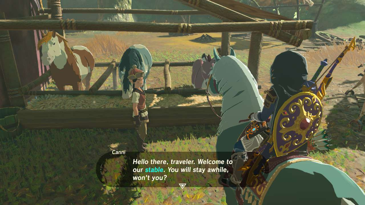 Speaking to stable caregiver in Zelda: Breath of the Wild.