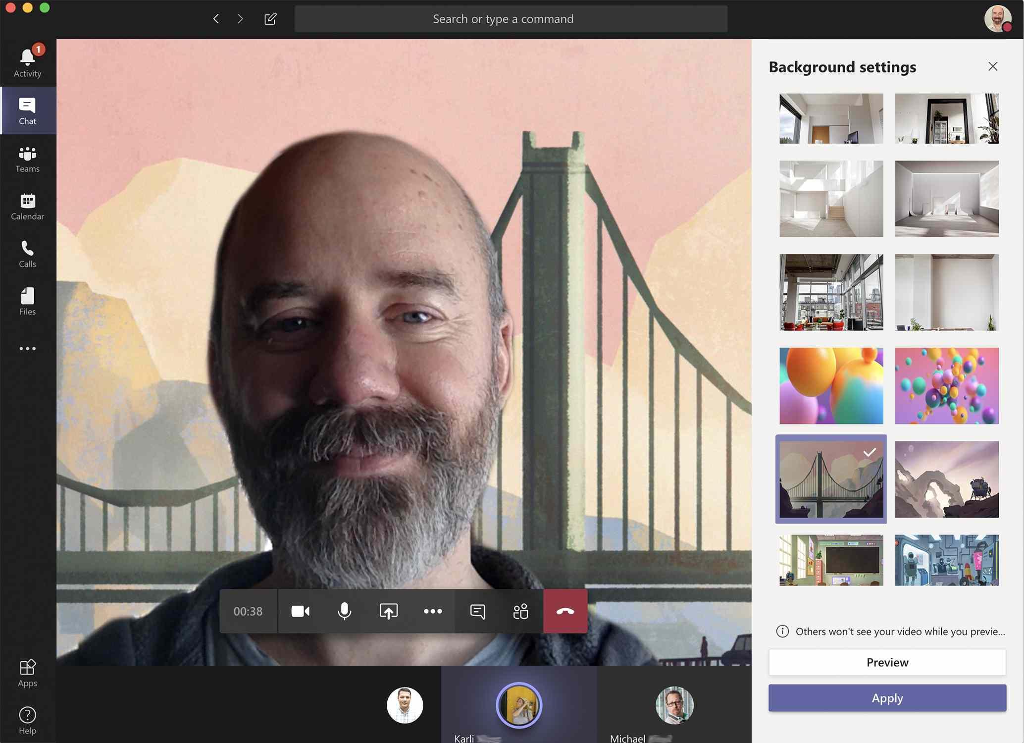 Screenshot of Microsoft Teams background effects