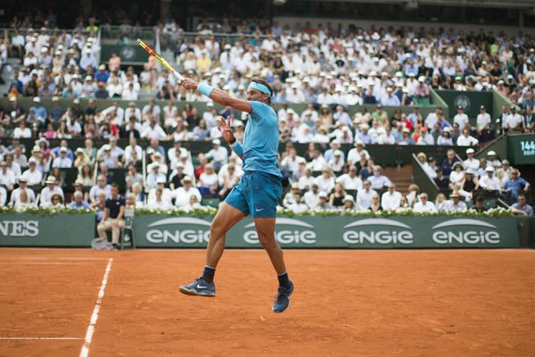 Rafael Nadal battles for victory at the French Open.