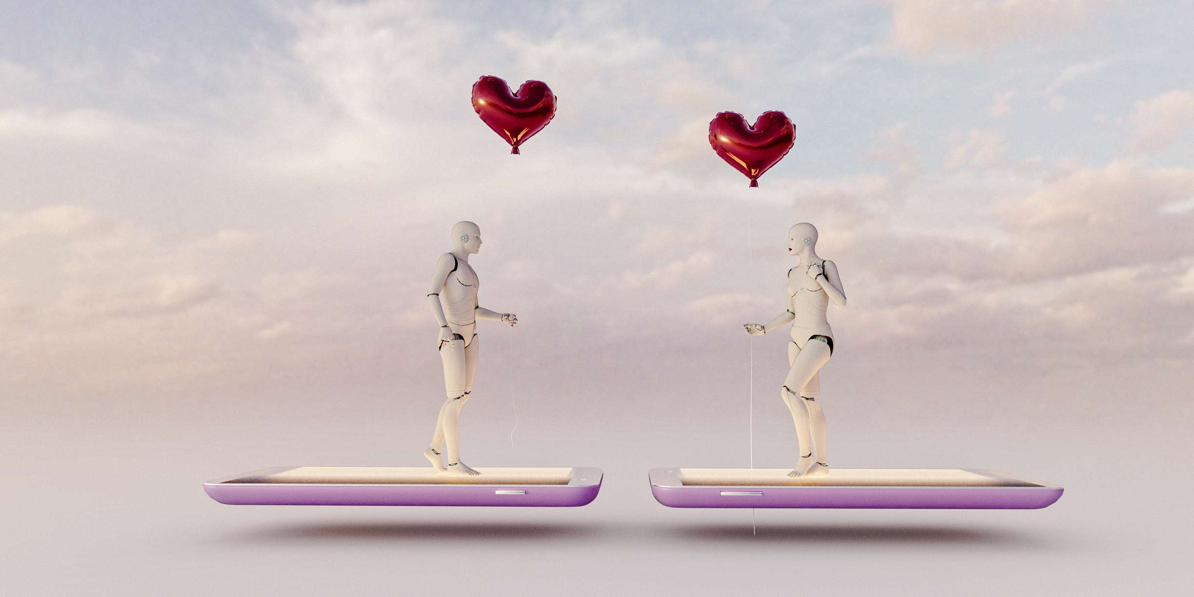 Online dating concept: male and female artificial intelligences meet holding red balloons while standing on mobile phones