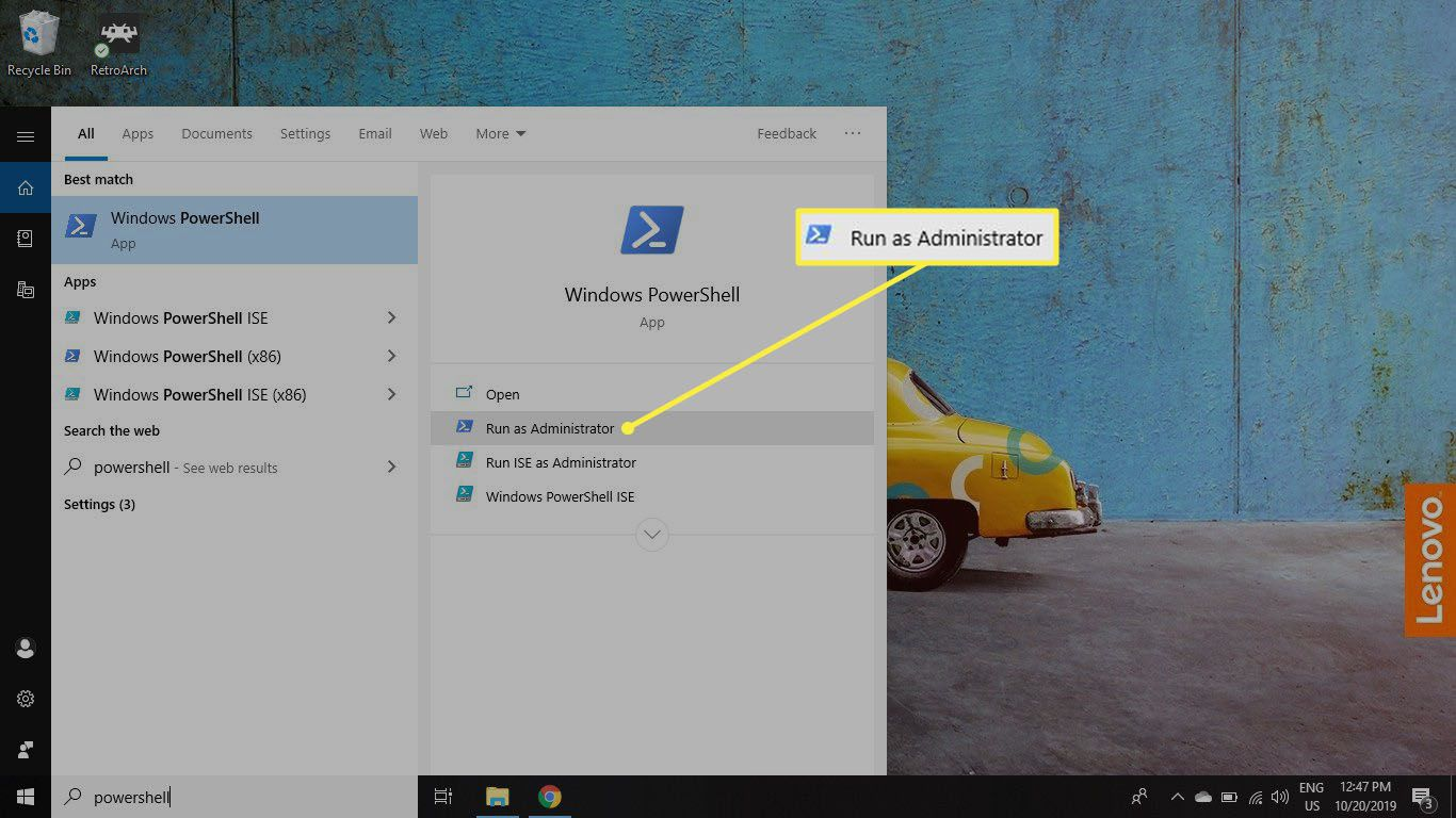 Type powershell in Windows search box, then select Run as administrator under Windows PowerShell.