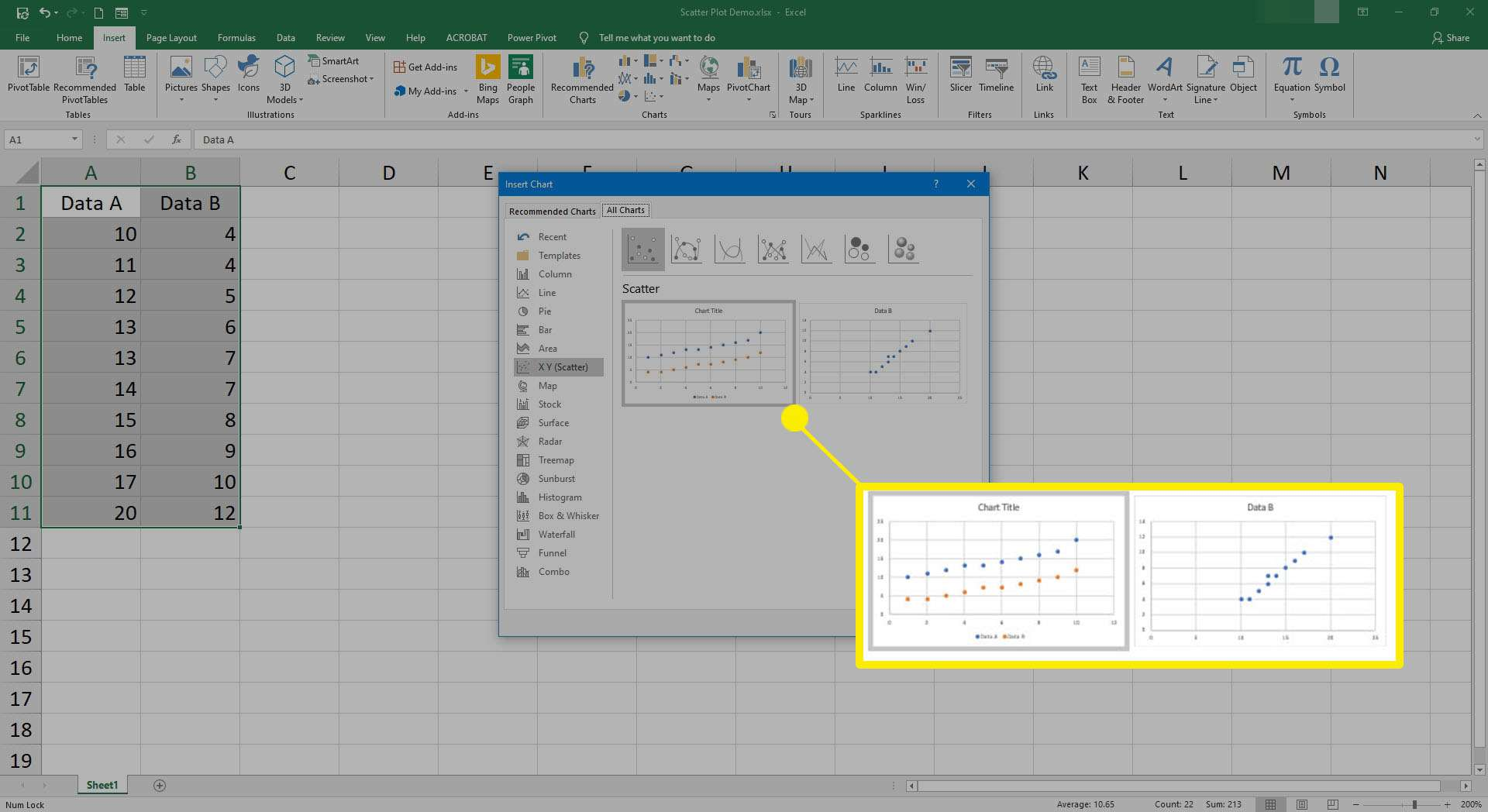 Selecting what data to use in a scatter plot in Excel.