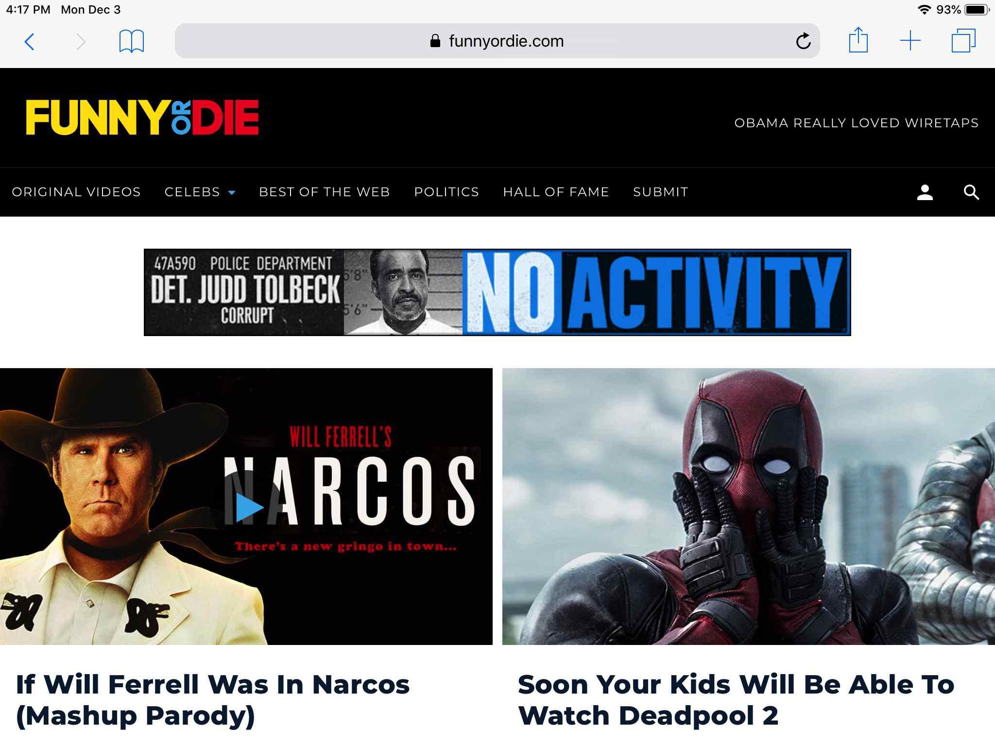 Funny or Die website screen on iPad