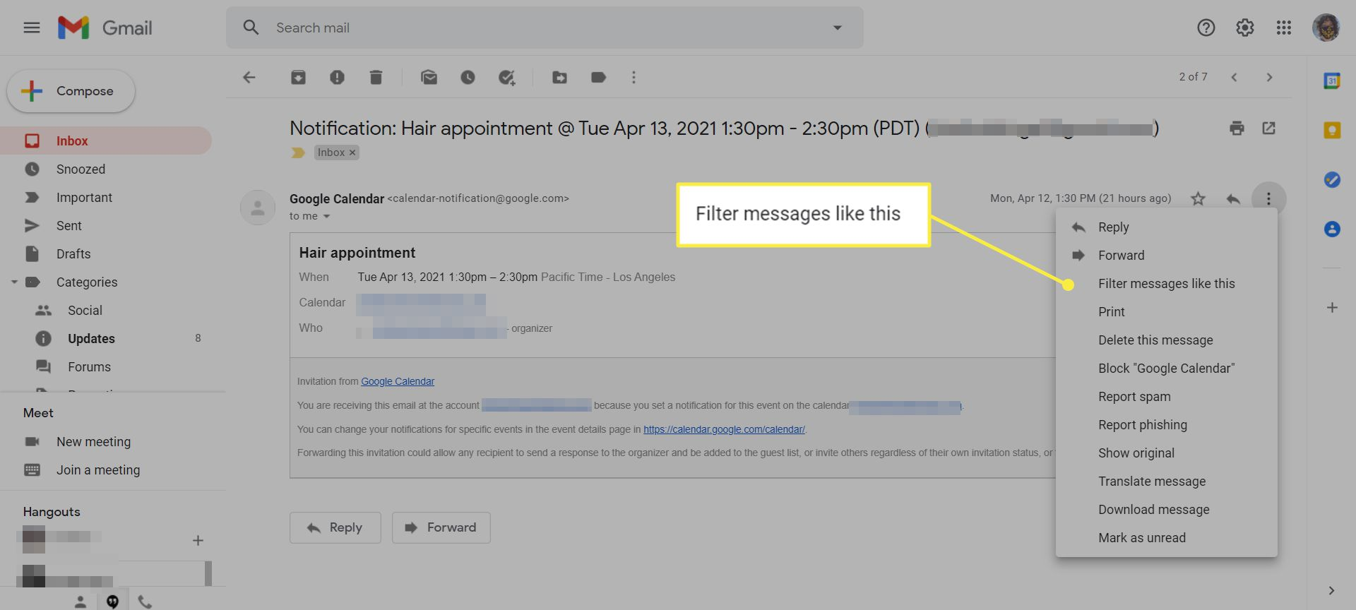 An email in Gmail with the 'Filter messages like this' menu option highlighted