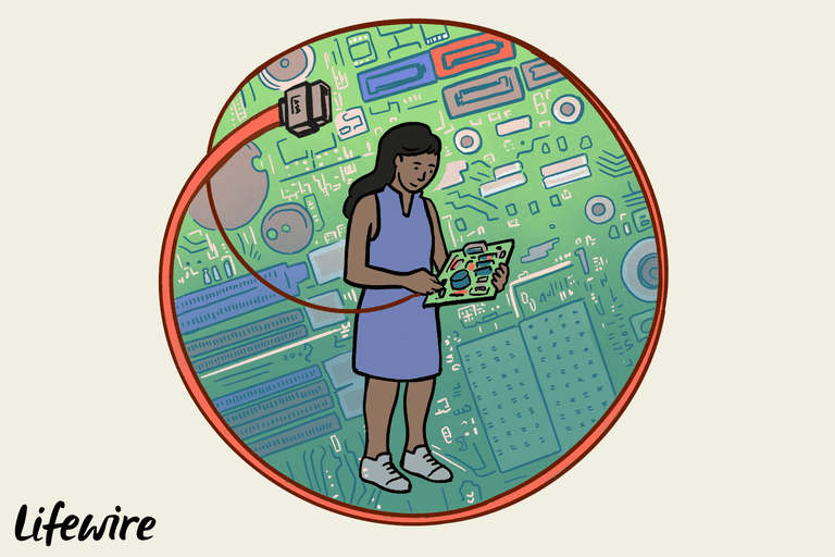 Illustration of a person holding a motherboard and a SATA cable